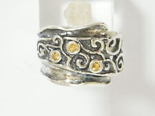 Hand Crafted 925 Sterling Silver SHABLOOL Ring orange Champagne CZ Band Style