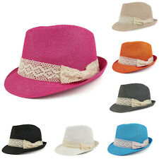 Colorful Paper Straw Fedora Hat with Lace Band - FREE SHIPPING