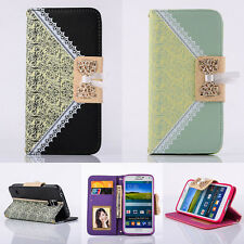 Flip Pattern Stand Bowknot PU Wallet Leather Skin Cover For Samsung Galaxy Case