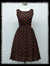 dress190 Black & Red Polka Dot 50's 60's Evening Cocktail Prom Party Dress 14-20