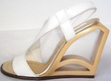 MARC JACOBS White Leather Gold Cut Out Wedge Sandals Shoes 6  8 or  10