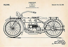 1919 Ziska Harley Davidson Motorcycle Art Gifts Patent Prints Vintage Drawing