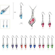 NEW HOT Necklace Austrian Earrings Crystal Combination 1 Set Hot 2016 Fashion