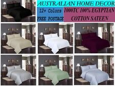 1000TC 100% Egyptian Cotton Sateen Sheet Sets Fitted + Flat + 2 Pillow Cases