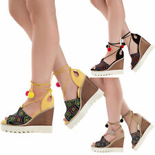 WOMENS HIGH WEDGE HEEL PLATFORM SANDALS LADIES AZTEC PEEP TOE SHOES SIZE 3-8