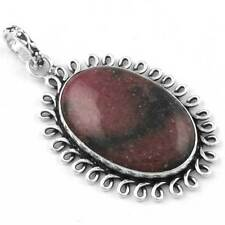 925 Sterling Silver Plated Designer Jewelry Rhodonite Gemstone Pendant tg94951