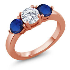 1.88 Ct Created Moissanite Simulated Sapphire 18K Rose Gold Plated Silver Ring
