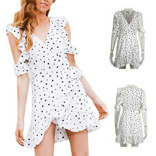 Irregular Dress Vintage Women Chic chiffon Print Cold shoulder polkadot Summer