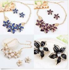 Fashion Charm Crystal Flower Pendant Choker Chunky Statement Bib Chain Necklace