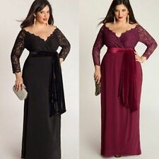 Plus Size Fashion Womens Long Maxi Dress Ladies V-neck  Long Sleeves Lace Dress