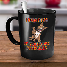 Pitbull Coffee Mug - High Five | Unique Coffee Mug | Cute Coffee Mug | Funny Mug