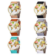 Casual 1Pcs Leather Strap Quartz Hot Sale Students Dial Watches World Map