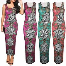 LADIES LEOPARD PRINT MAXI DRESS WOMENS RACER BACK VEST TOP LONG SKIRT DRESSES