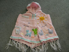 New Made In Peru Arpillera Poncho with Hood Size 12 - 16 Months Pink #010310