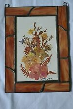 """Vintage Leaded Stained Glass Frame with Dried Flower Arrangement 5""""x 7"""""""