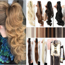 Natural Ponytail Clip In Hair Extension Claw Pony Tail Fake Hairpiece human made