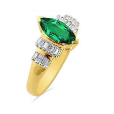 Natural Colombian Emerald Green Marquise cut & Diamond  14k White Gold Ring