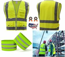 Safety Vest With Reflective Class 2 High Visibility Strips 4 Pockets Zipper ANSI