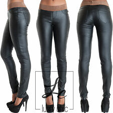 Womens Black Wet Look Leather Trousers Ladies Slim fit Trousers Size 8 10 12