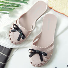 Bowknot Womens Close Toe Beach Jelly Slippers Plastic Beach Flat Casual Shoes
