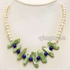 SALE 6-7mm White pearl and 20-25mm Biwa Pearl & Blue Jade 17 Necklace-nec6295