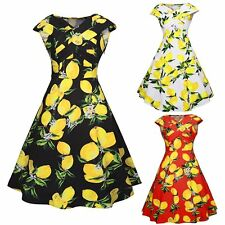 Women Cap Sleeve Floral Swing Skater Dress Rockabilly 50s60s Vintage Pinup Party
