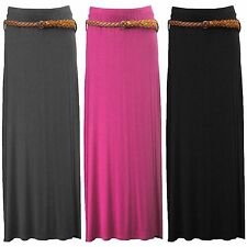 NEW LADIES MAXI SKIRT BELTED WOMENS LONG STRETCH JERSEY FESTIVAL LOOK 8 10 12 14