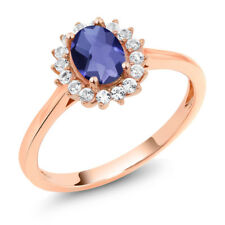 10K Rose Gold 0.89 Ct Oval Checkerboard Blue Iolite White Created Sapphire Ring