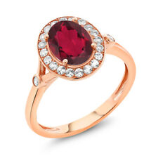 2.16 Ct Oval Red Mystic Quartz White Created Sapphire 10K Rose Gold Ring