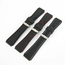 18mm 20mm 22mm 24mm Waterproof Mens Silicone Rubber Dive Watch Band Belt Strap