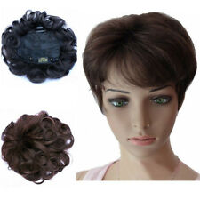 100% Human Hair Women Curly Black/Brown Natural Toupee Top Piece Hair Extensions