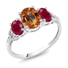 Diamond Accent 10k White Gold 2.55Ct Oval Ecstasy Mystic Topaz Red Ruby Ring