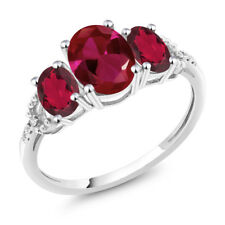 Diamond Accent 10k White Gold 2.20 Ct Oval Created Ruby Red Mystic Topaz Ring