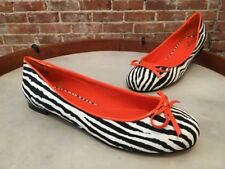 Twiggy London Black & White Zebra Bow Ballet Flats NEW