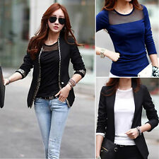 Women Ladies Cotton Lace Mesh Patchwork Long Sleeve T Shirts All-match Tops Tees