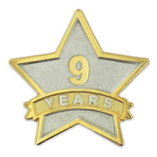 PinMart's 9 Year Service Award Star Corporate Recognition Dual Plated Lapel Pin