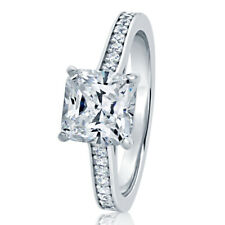 7.5MM Sterling Silver Princess 1.75ct CZ Solitaire Wedding Engagement Ring Band