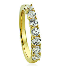 3MM 14K Gold Plated Sterling Silver Wedding Ring CZ Seven Stone Anniversary Band