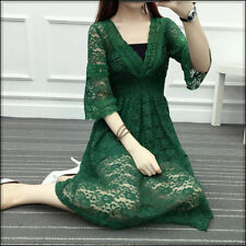 V-neck dress lace skirt of tall waist long dress of cultivate one's morality