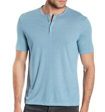 John Varvatos Star USA Men's Short Sleeve 3 Button Henley Pond Blue $78 msrp NWT