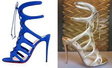Christian Louboutin Blue Suede & Gold Amazolou Strappy Sandals (39.5-40.5) $1895