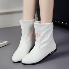 2017 Womens Pu leather Round toe Pull On Casual Mid-calf Boots Flats Shoes AU SZ