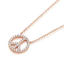 """16""""+2"""" 14K Rose Gold Plated Sterling Silver CZ Peace Sign Pendant Necklace Chain"""