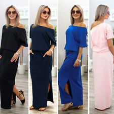 Sexy Womens One Shoulder Summer Split Long Maxi Ladies Party Beach Casual Dress