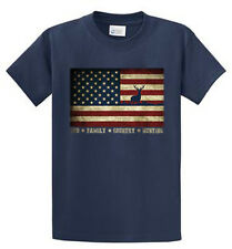 US Flag With Deer Printed Tees Mens M - XL 2X - 6X LT - 4LT Sizes Port & Company