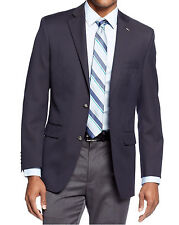 Tasso Elba Classic Fit Solid Navy Blue Two Button Wool Blend Blazer Sportcoat