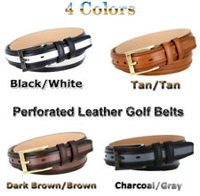 "BL1009 PERFORATED DRESS LEATHER GOLF BELT 1 1/4"" WIDE 4 COLORS SIZES 32 - 46"
