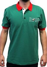 Hugo Boss Paddy Flag 100% Cotton Polo Shirt 50260461-314 Green MEXICO