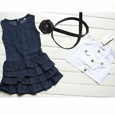Kid With Belt O-Neck Sleeveless Girl Ruffle Dress Set Two Piece Set Solid Button