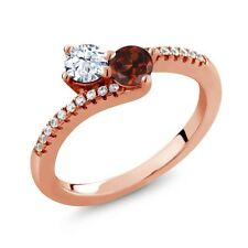 0.94 Ct Round White Topaz Red Garnet Two Stone 18K Rose Gold Plated Silver Ring